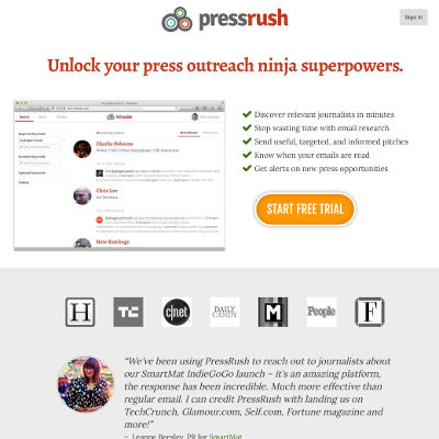 PressRush unlocks your press outreach ninja superpowers.